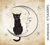 black cat sitting on the moon.... | Shutterstock .eps vector #471620891