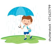school boy with umbrella in the ... | Shutterstock .eps vector #471625799