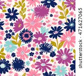Stock vector seamless floral pattern with wild flowers 471627065