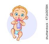 vector cartoon baby with bottle ... | Shutterstock .eps vector #471630584