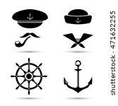 vector nautical icons  captain...