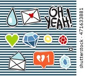set of doodle fashion patches.... | Shutterstock .eps vector #471633881