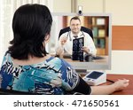 cardiologist meets on line with ... | Shutterstock . vector #471650561