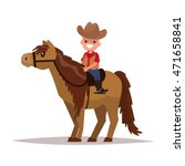 Boy Cowboy On Horseback. Vecto...