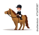 Stock vector cheerful boy jockey riding a horse vector illustration of a flat design 471659387