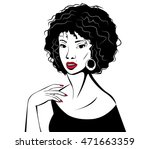 young woman with red lips.... | Shutterstock .eps vector #471663359