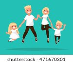 happy blond  family is jumping. ... | Shutterstock .eps vector #471670301