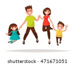 happy family is jumping. father ... | Shutterstock .eps vector #471671051