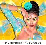 brunette beauty and fashion... | Shutterstock . vector #471673691