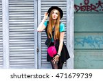 stylish sexy blonde woman... | Shutterstock . vector #471679739