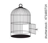 birdcage with open door. vector ... | Shutterstock .eps vector #471683714