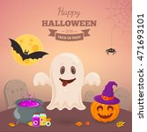 funny ghost on a grave.... | Shutterstock .eps vector #471693101