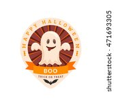 funny ghost and text. halloween ... | Shutterstock .eps vector #471693305