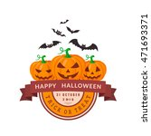 pumpkins and bats. halloween... | Shutterstock .eps vector #471693371