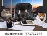 businessmen in office. dog head ... | Shutterstock . vector #471712349