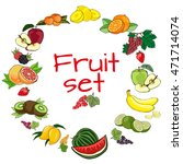 fruit set on a white background. | Shutterstock .eps vector #471714074
