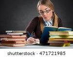 student  girl with glasses... | Shutterstock . vector #471721985
