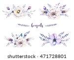 set of watercolor vintage... | Shutterstock . vector #471728801