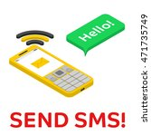 send sms   isometric phone with ... | Shutterstock .eps vector #471735749