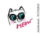cat cute in glasses... | Shutterstock .eps vector #471762815