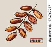 drawing date fruit twig....   Shutterstock .eps vector #471767297