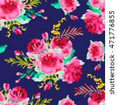 hand drawn watercolor roses...   Shutterstock . vector #471776855
