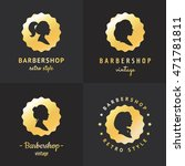 gold barbershop profiles... | Shutterstock .eps vector #471781811