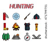 hunting flat icons set | Shutterstock .eps vector #471799751