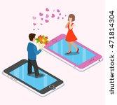 flat isometric couple date on... | Shutterstock .eps vector #471814304