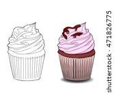 coloring book page. cupcakes ... | Shutterstock .eps vector #471826775