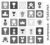 award icon set. bblak and white ... | Shutterstock . vector #471831965