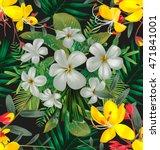plumeria flower  pattern | Shutterstock .eps vector #471841001