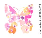 watercolor floral butterfly... | Shutterstock . vector #471854591
