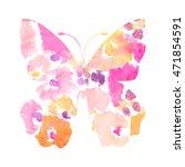 cute painted butterfly art... | Shutterstock . vector #471854591