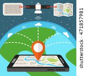 mobile gps navigation map with... | Shutterstock .eps vector #471857981