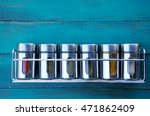spice rack on a wooden wall.... | Shutterstock . vector #471862409