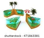slice of tropical island. 3d...   Shutterstock . vector #471863381
