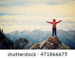 cheering woman hiker open arms... | Shutterstock . vector #471866675