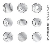 Silver Sports Balls Icon Set