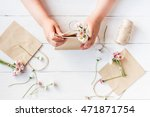 workspace with small bouquets... | Shutterstock . vector #471871754