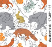 forest animals  bear  fox  hare ... | Shutterstock .eps vector #471894449