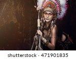indian woman hunter.native...   Shutterstock . vector #471901835