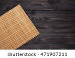 orange bamboo napkin on a dark...   Shutterstock . vector #471907211