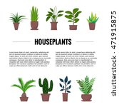 Flat Style House Plants And...