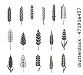 set of simple wheat ears icons... | Shutterstock . vector #471916457