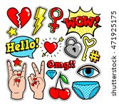 Fashion patch badges with hearts, speech bubbles, stars and other elements. Vector illustration isolated on white background. Set of stickers, pins, patches in cartoon 80s-90s comic style.   Shutterstock vector #471925175