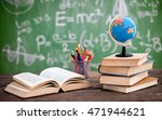 globe on the book with school... | Shutterstock . vector #471944621
