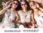 Three Cute Hippie Girl Lying On ...