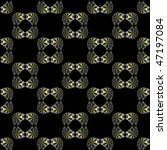 Computer generated fractal image with a metallic curved square seamless tile design on a black background. - stock photo