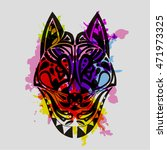 vintage vector wolf or dog head ...   Shutterstock .eps vector #471973325